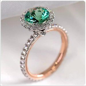 New Two Tone 925 Silver Women Emerald Round Ring